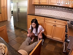 Before he destroys her tiny pussy lucky guy plays with Savannah Sixx's cunt