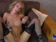 Succulent blonde reveals her shemale dick and plays around with it