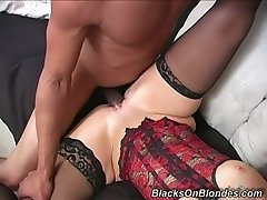 Kinky cuckold watched his sexy brunette chick getting fucked in mish style by black dude