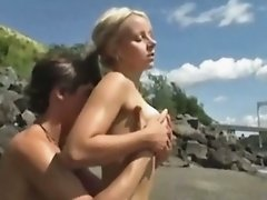 Hot french teen fucking couple on the shore