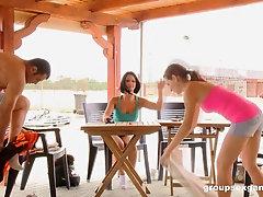 Public hardcore foursome with Mira Shine and Destiny blindfolded