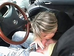Tit sucking in the bar is followed by a blowjob in the car
