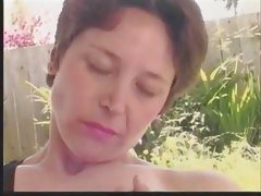 Mature Outdoor Hairy Pussy Rub with audio synch