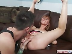 Sexy slender red haired nextdoor chick plays with nuts and swallows big cock deepthroat