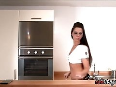 Stockinged european maid gets ass pounded