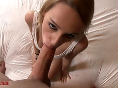 Blue eyed blonde babe Erica Fontes swallows cum after a doggy fuck