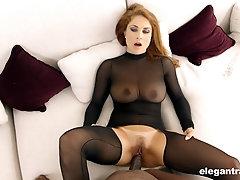 Slutty mature blonde in a fishnet suit Roberta Gemma sprayed with cum