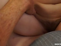Fresh girl with lots of pubic hair is fond of riding strong cock