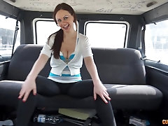 hardcore reality pussy fuck in a car with slutty brunette MILF