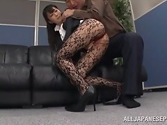 Japanese milf wearing pantyhose gets her pussy fucked deep