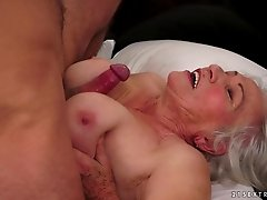 Affectionate matured granny yelling while being banged doggystyle