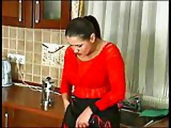 Milf in red is burning with a sexual desire!