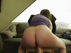 Amateur chubby GF sucks cock with dildo